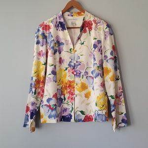 Drapers & Damons White Colorful Floral Silk Jacket